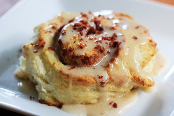 Cinnamon Swirl Biscuits w/ a maple glaze and bacon!