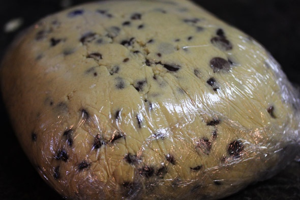 wrapped cookie dough, ready to be chilled for at least 24hrs.