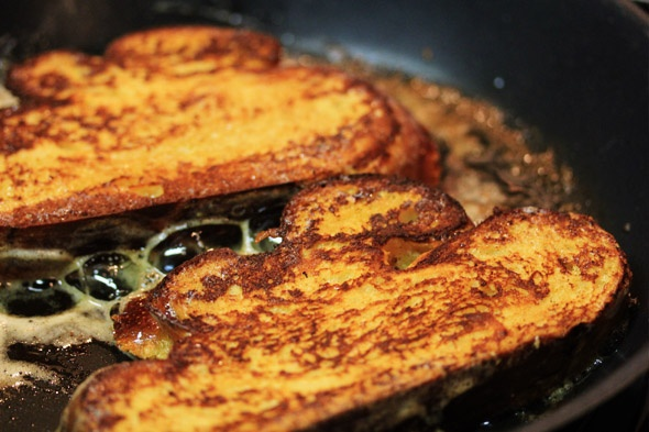 Bourbon & Vanilla Bean French Toast with Raspberry Maple Syrup