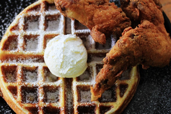 Chicken & Waffles with Bourbon Maple Syrup