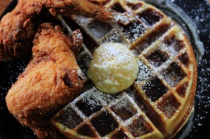Fried Chicken & Waffles with Bourbon Maple Syrup