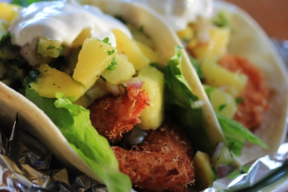 Coconut Shrimp Tacos with Pineapple and Mango Salsa | Carnal Dish