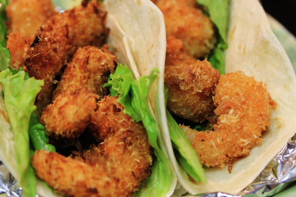 Coconut Shrimp Tacos with Pineapple & Mango Salsa