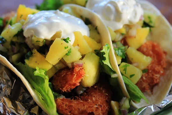 ... your tacos and pile on the sweet and spicy pineapple and mango salsa
