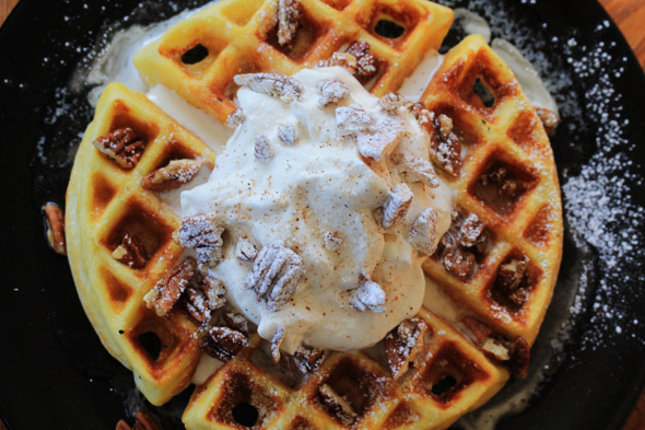 Butter Pecan Waffles with Spiced Bourbon Whipped Cream