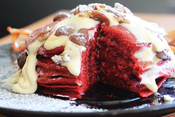 Red Velvet Pancakes with Maple Cream Cheese Glaze