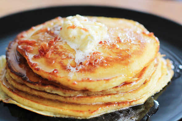 Bacon & Brown Sugar Pancakes with Bacon-Maple Syrup