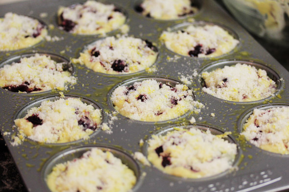 Lemon Sugar Crusted Blueberry Muffins