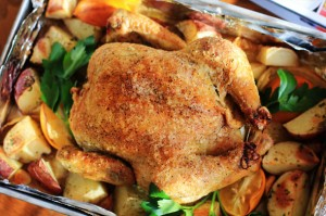 Meyer Lemon & Garlic Roast Chicken