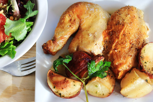 Meyer Lemon & Garlic Roasted Chicken