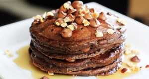 Double Chocolate Pancakes with Toasted Hazelnuts