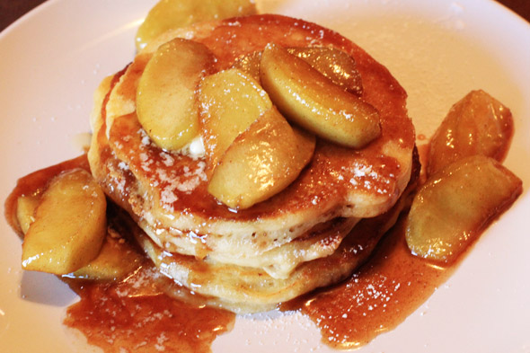 Apple Cinnamon Buttermilk Pancakes with Caramel Syrup