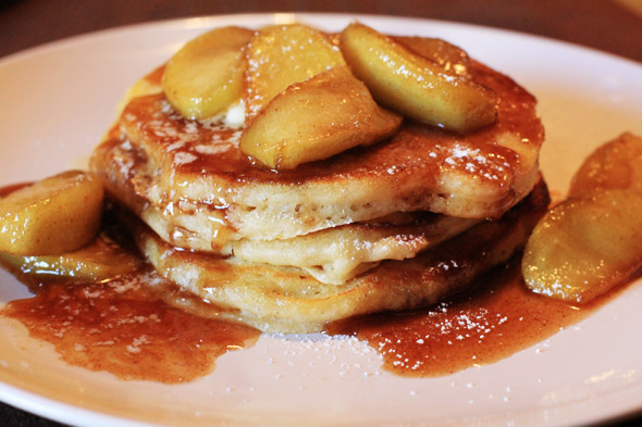 ... breakfast » Apple Cinnamon Buttermilk Pancakes with Caramel Syrup