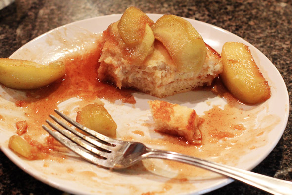 Apple Cinnamon Buttermilk Pancakes with Caramel Syrup