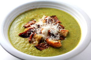 Broccoli-Cheddar Soup with Bacon and Homemade Croutons