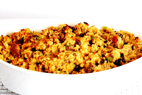 Cranberry-Orange Cornbread Stuffing with Sausage