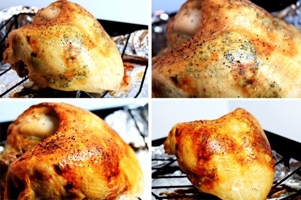 1 & 2) the turkey has cooked for exactly 1 hour and 30 minutes total. 3 & 4) place the bird back in a hotter oven for just 10 minutes to crisp up the skin.