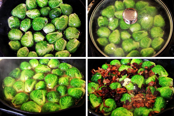 1. Arrange each half of your brussel sprouts into the pan, cut-side down, 2. Cover and sear for just 2 to 3 minutes, until the edges begin to caramelize, 3. Add your wine and water to the brussels, 4. Add the garlic, cranberries, and bacon and shallot mixture on top, allowing the cranberries to sink into the wine.