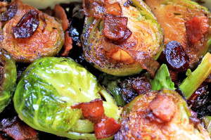 White Wine Braised Brussel Sprouts with Bacon and Cranberries