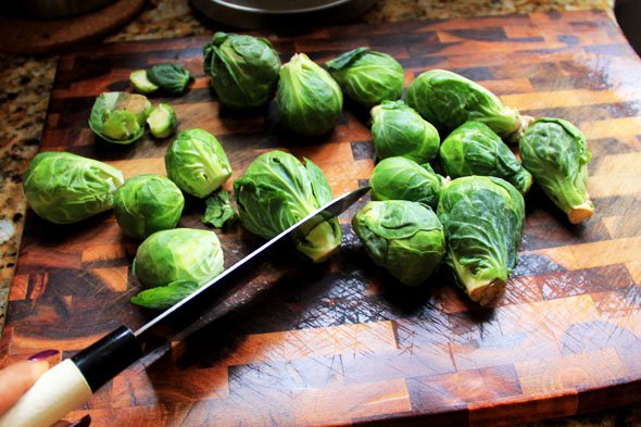 Cut the dirty little ends off each brussel sprout. We don't need those.