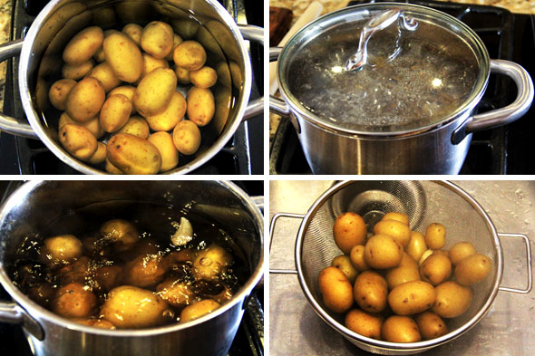 "Meanwhile, place your potatoes in a medium-sized pot and make sure they're covered by at least 2"" of water. Salt the water, toss in one split garlic clove, cover and bring to a simmer for about 10-13 minutes or until you can pierce them easily with a wooden skewer or fork. They should NOT be mushy or falling apart. Drain and cool for a few minutes."