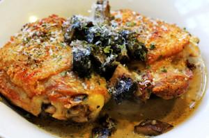 Parmesan-Crusted Chicken Thighs with White Wine Portobello Cream Sauce