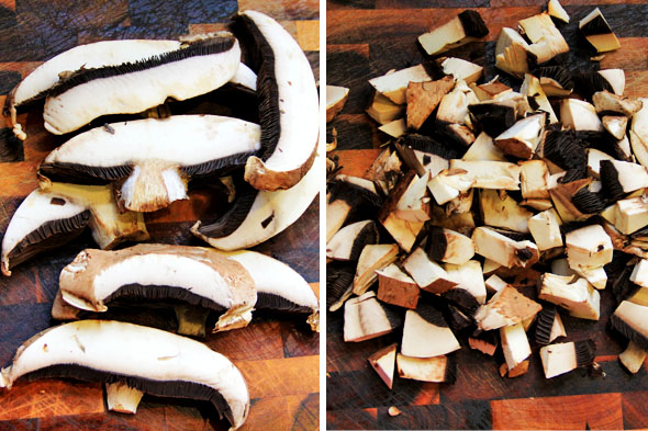 Chop your portobellos into bite sized pieces.