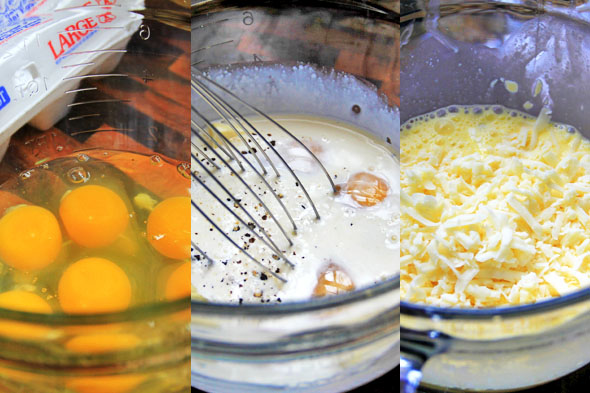 Meanwhile, whisk 6 large eggs in a bowl. Add the cream, salt, pepper, butter and mix thoroughly. Add the cheese last and gently fold that in. Don't overbeat your eggs, it'll overwork the proteins and give you rubbery eggs.