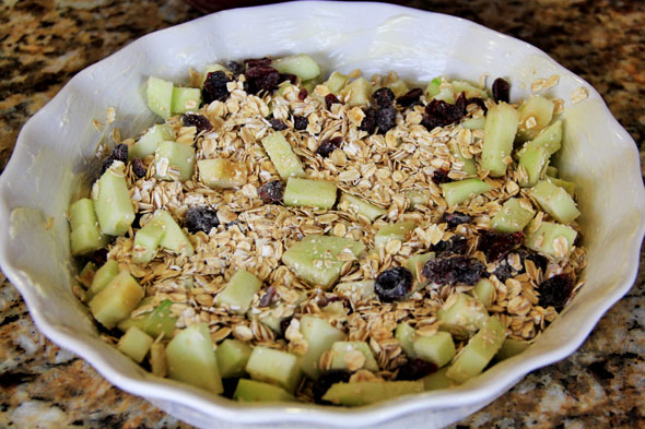 Pour the oat/apple mixture into the baking dish.