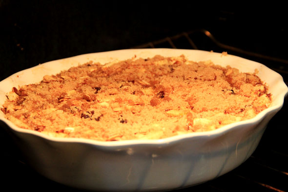 Sprinkle 2 tablespoons of brown sugar on top in an even layer, and bake an additional 10 minutes. Turn on your broiler, and let the brown sugar caramelize for 3-5 minutes.