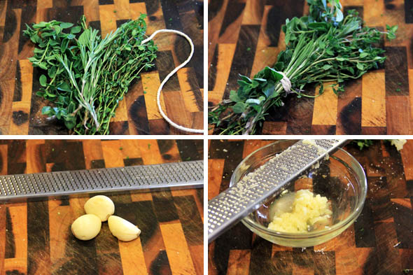 We're going to make a quick bouquet garni. A bouque garni is just a bunch of fresh herbs tied up and used in stocks, soups, marinades or whatever. Also, grate large cloves of garlic and set aside. We'll  use that later for the prosciutto/pancetta mixture.