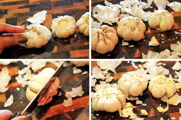 1) Peel the loose outer paper from each bulb, keeping the tighter paper in tact. 2) Should look similar to this. 3) with a VERY sharp knife and a sturdy hand, carefully slice the first 1/4 of each garlic head off..just the tip lol. 4) they should all look like this