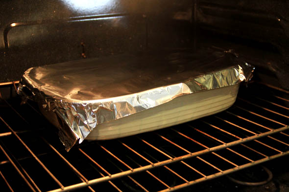 Cover loosely with foil and bake for 30 minutes.