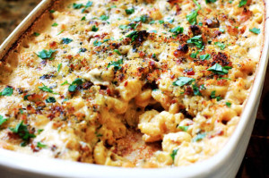 Holiday Mac-n-Cheese w/ Roasted Garlic, Caramelized Shallots, and Prosciutto
