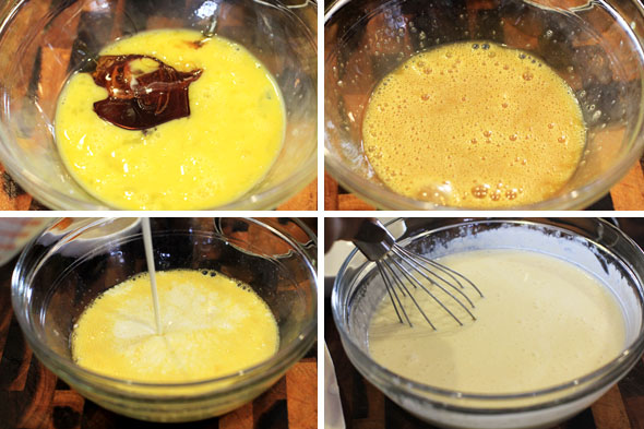 Whisk the honey with 1 egg until completely dissolved. Add the heavy cream and buttermilk and mix to combine. Set inside the fridge to keep cold!