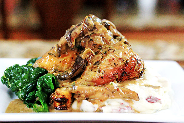 Crispy Roasted Chicken with Creamy Marsala Sauce