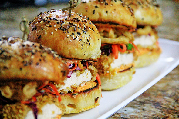 Oven-Fried Chicken Sliders with Roasted Red Pepper Aioli