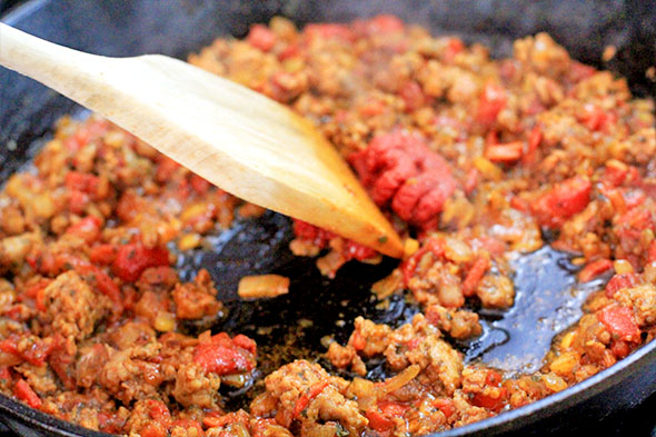Combine everything, let the tomato paste cook for about 1-2 minutes.