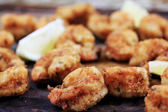Lemony Buttermilk Fried Shrimp