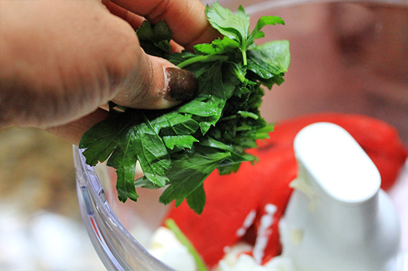 throw in some fresh herb. i'm using parsley. basil, dill, or cilantro would work fine.