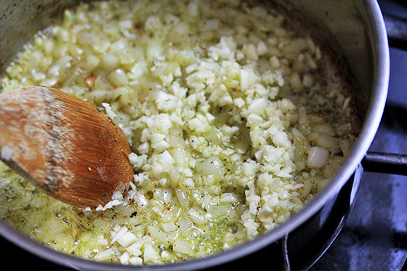 cook the garlic for about 30 seconds to take off their edge.