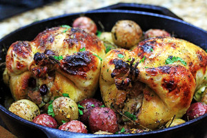 Roasted Buttermilk Cornish Hens with Apple & Sausage Stuffing