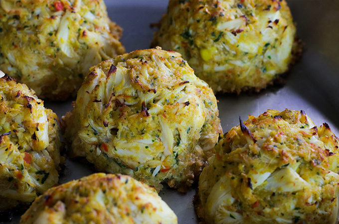 Broiled Jumbo Lump Crab and Corn Cakes
