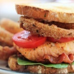 Salmon BLT with Onion Rings and a Spicy Lemon-Caper Mayo