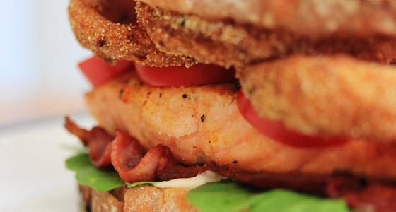 Slammin' Salmon BLT with Cornmeal Onion Rings