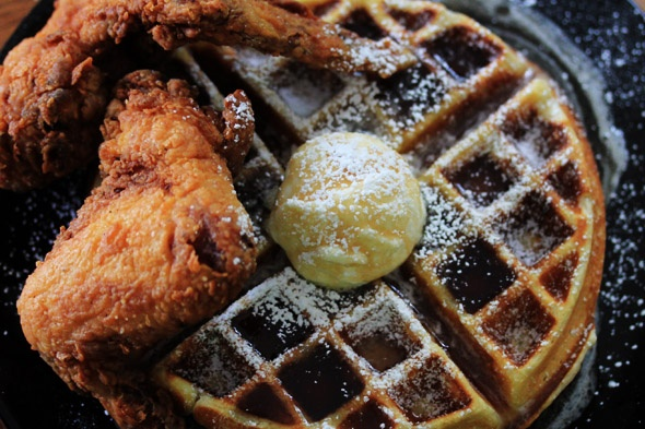 Fried Chicken and Waffles with Bourbon Maple Syrup