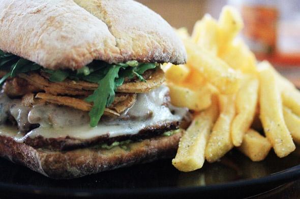 Seared Steak Sandwich with Garlic Parmesan Fries