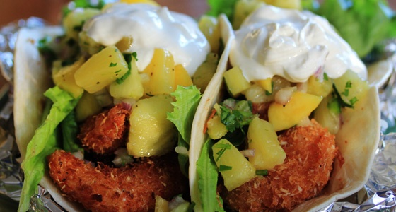 Coconut Shrimp Tacos with Pineapple and Mango Salsa