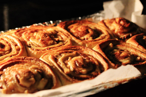 Maple Glazed Apple Pecan Cinnamon Rolls