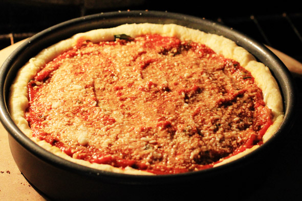 Homemade Chicago-Style Deep-Dish Pizza